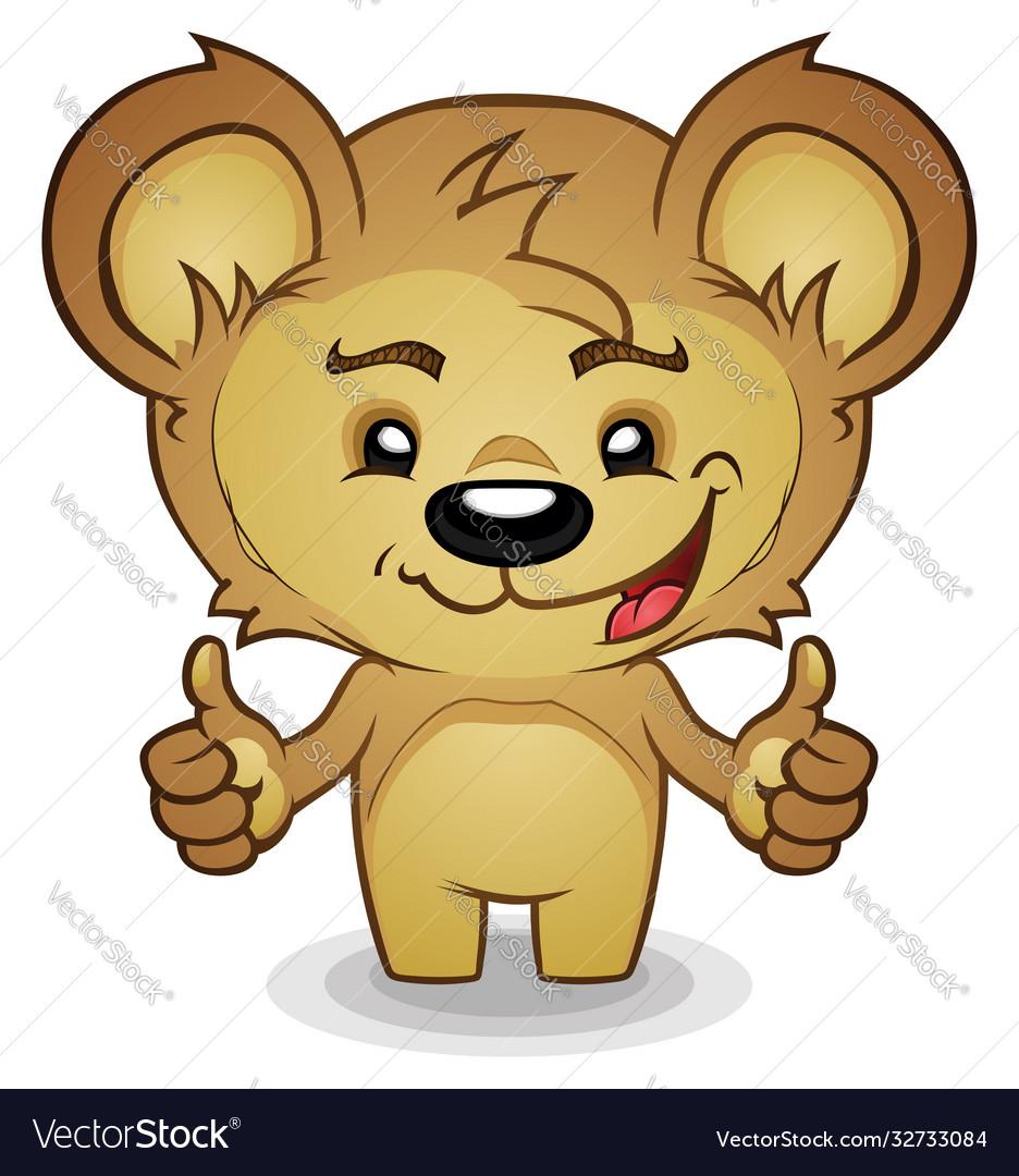 Teddy bear cartoon thumbs up