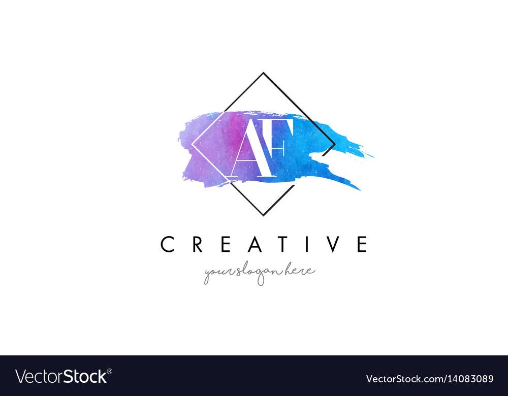 Af artistic watercolor letter brush logo vector image