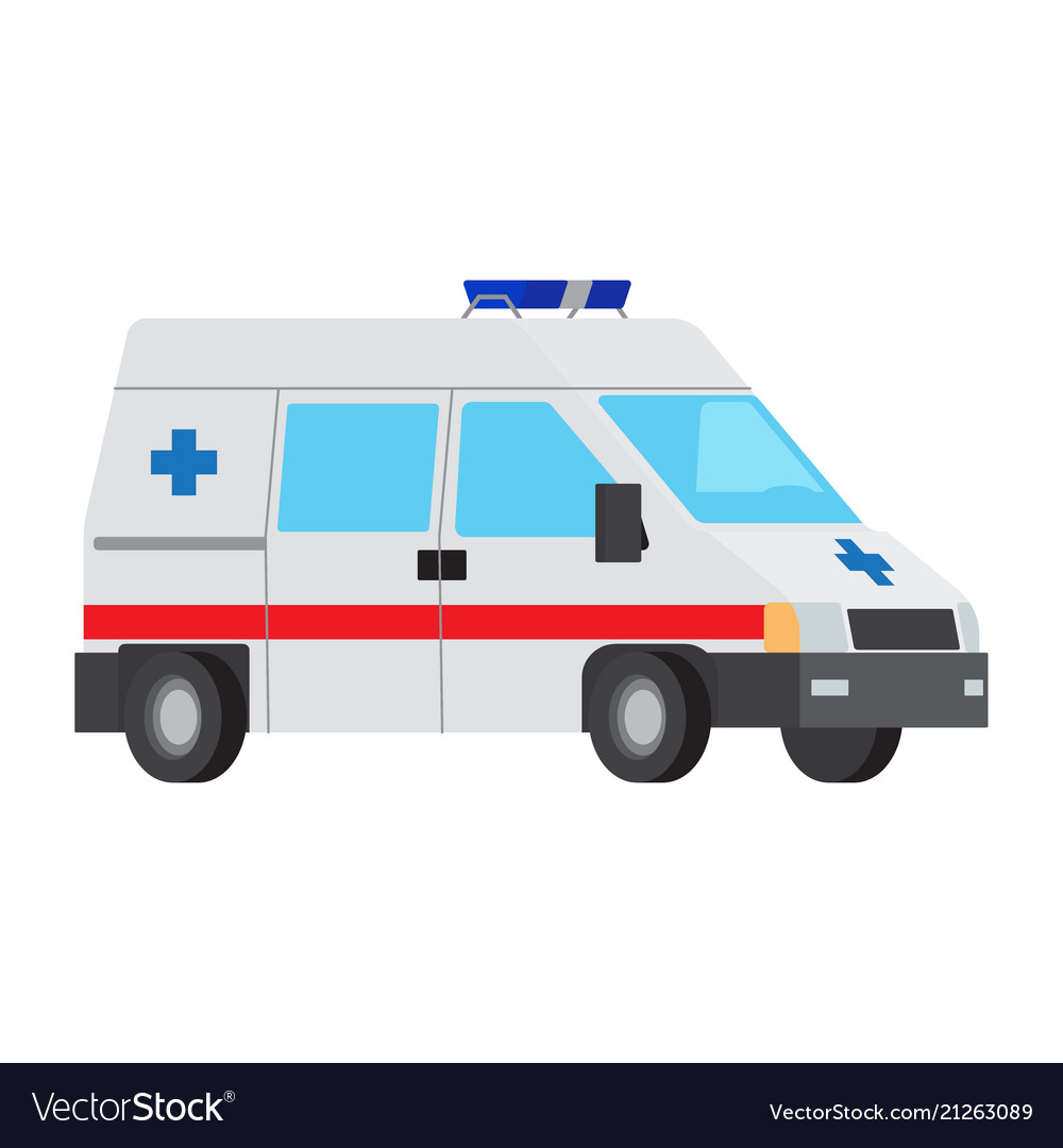 Ambulance car flat isolated icon