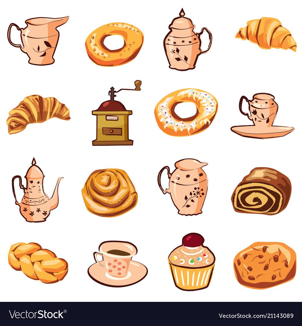 Baking croissant biscuit coffee grinder teapot