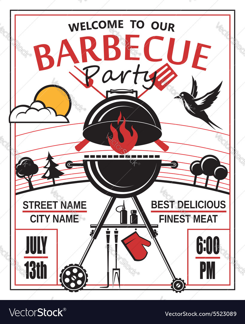 barbecue party invitation royalty free vector image