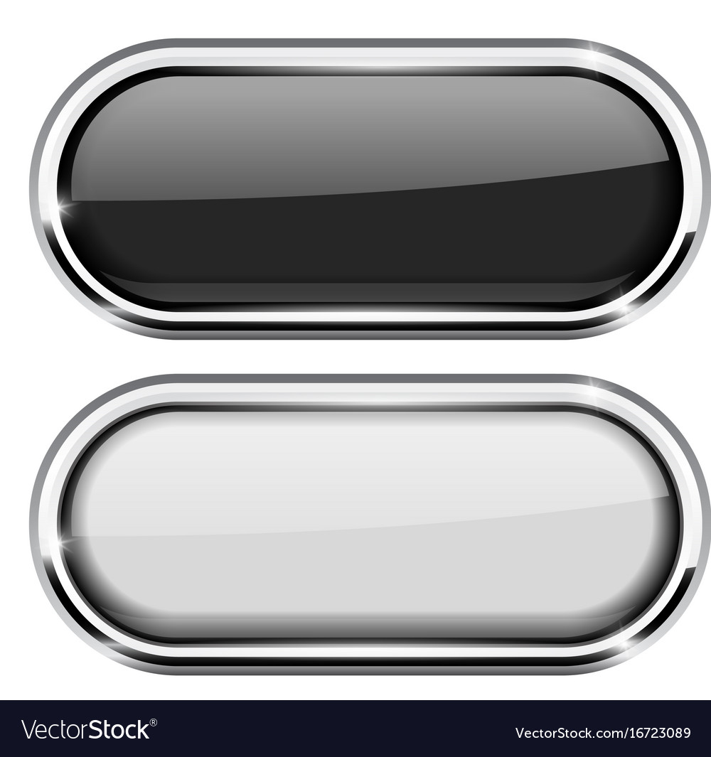 Black and white oval buttons with chrome frame Vector Image