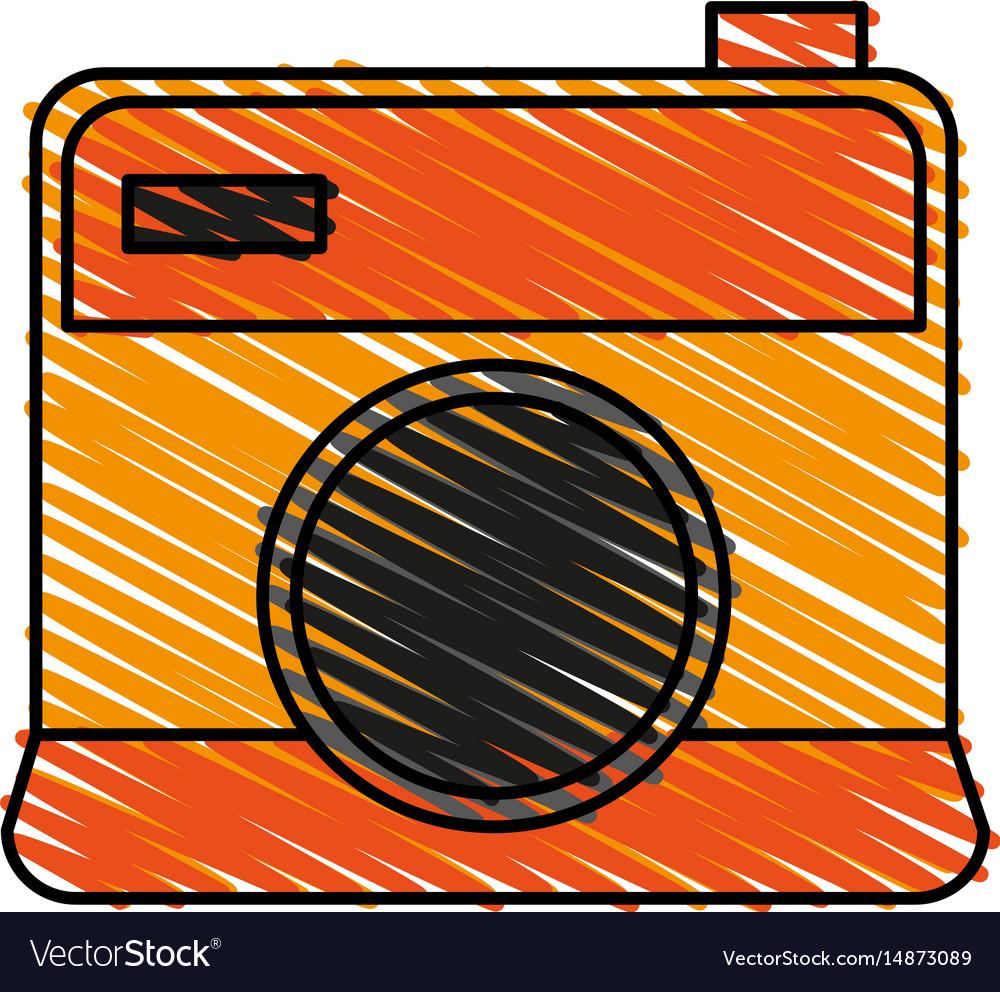 Color crayon stripe cartoon analog camera with