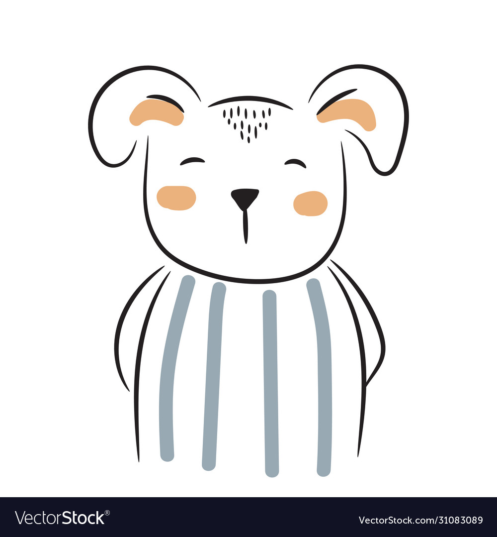Cute doodle puppy simple hand drawn