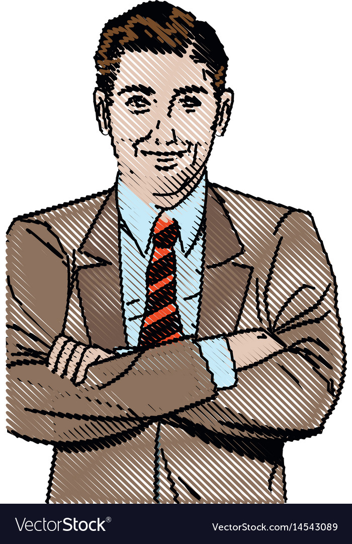 Drawing pop art man business crossed arms vector image