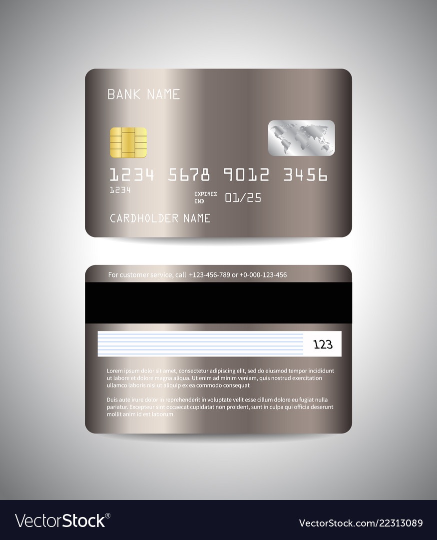 Realistic detailed credit cards set with bronze