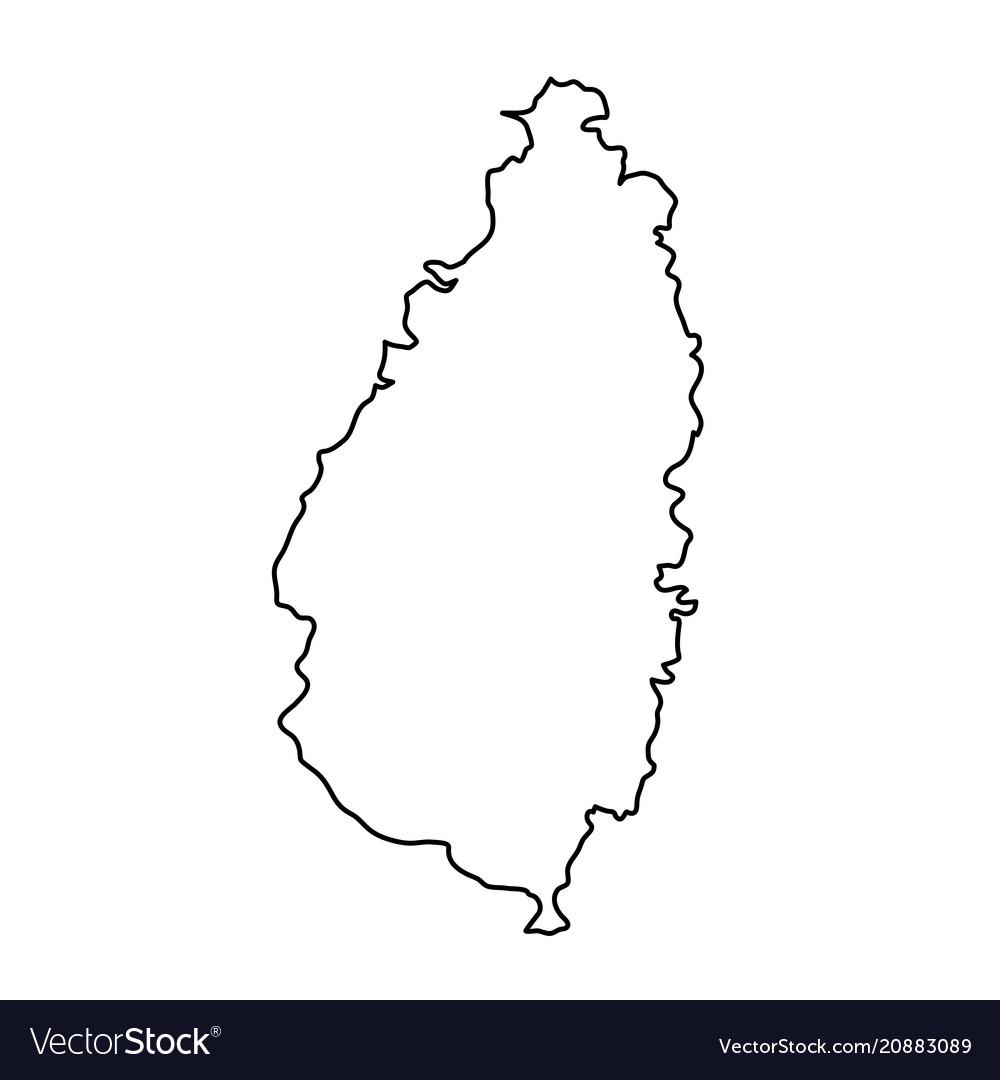Saint lucia map of black contour curves of