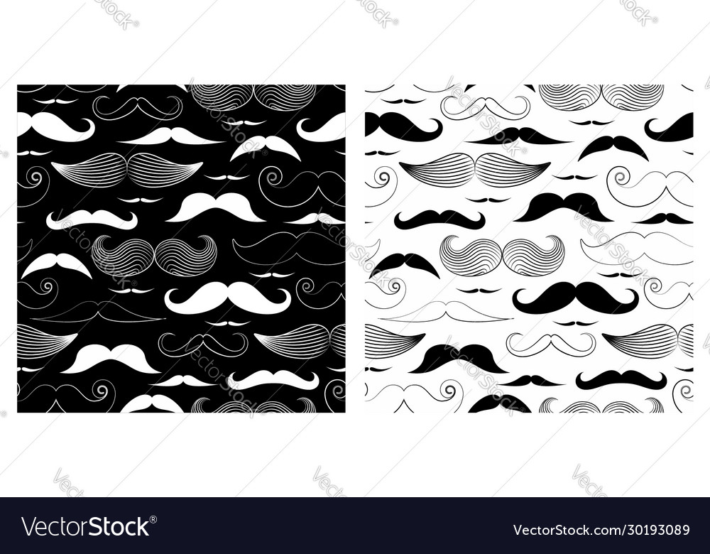 Seamless pattern mustaches and beards