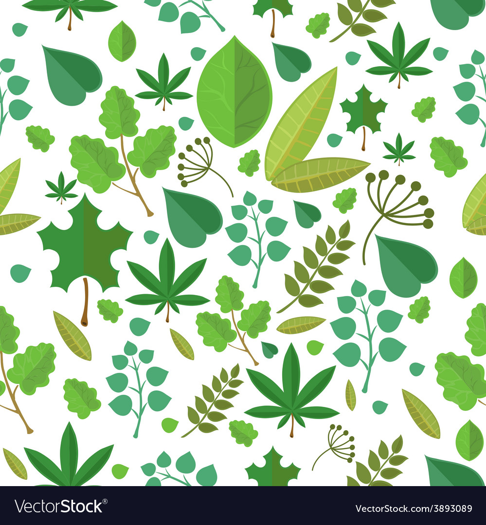 Seamless stylized green leaf pattern background