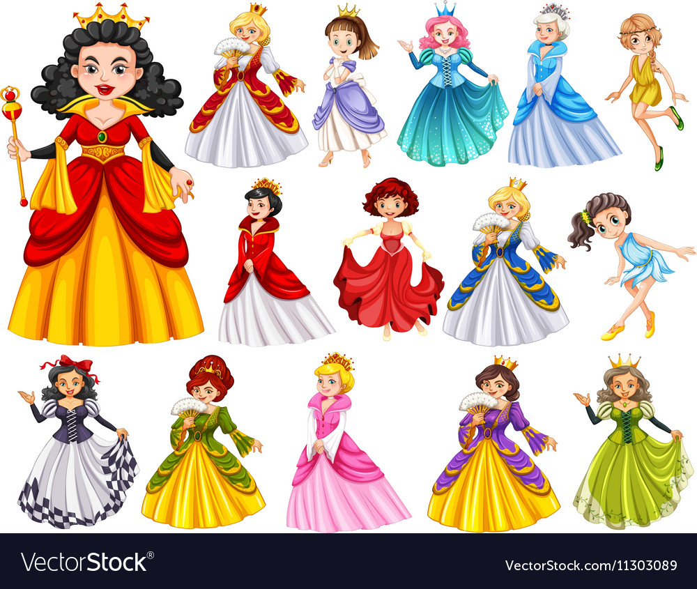 Set of beautiful queens and princess vector image