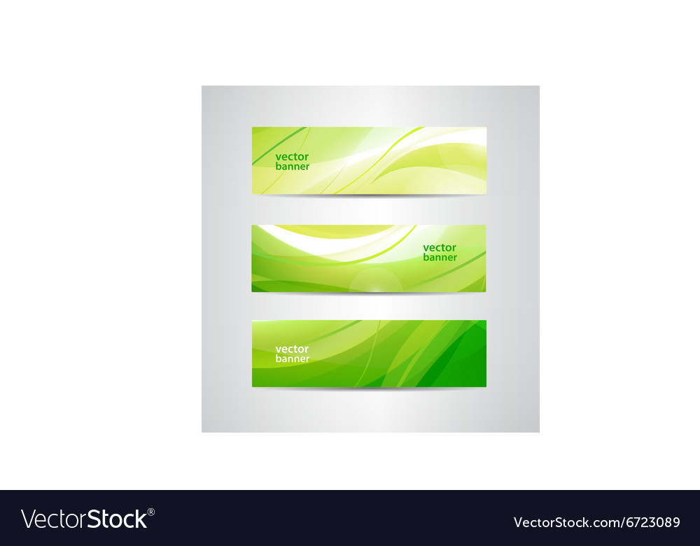 Set of green eco wavy banners