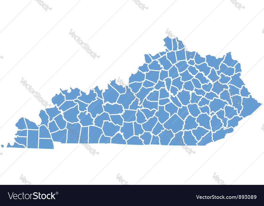 State Map of Kentucky by counties vector