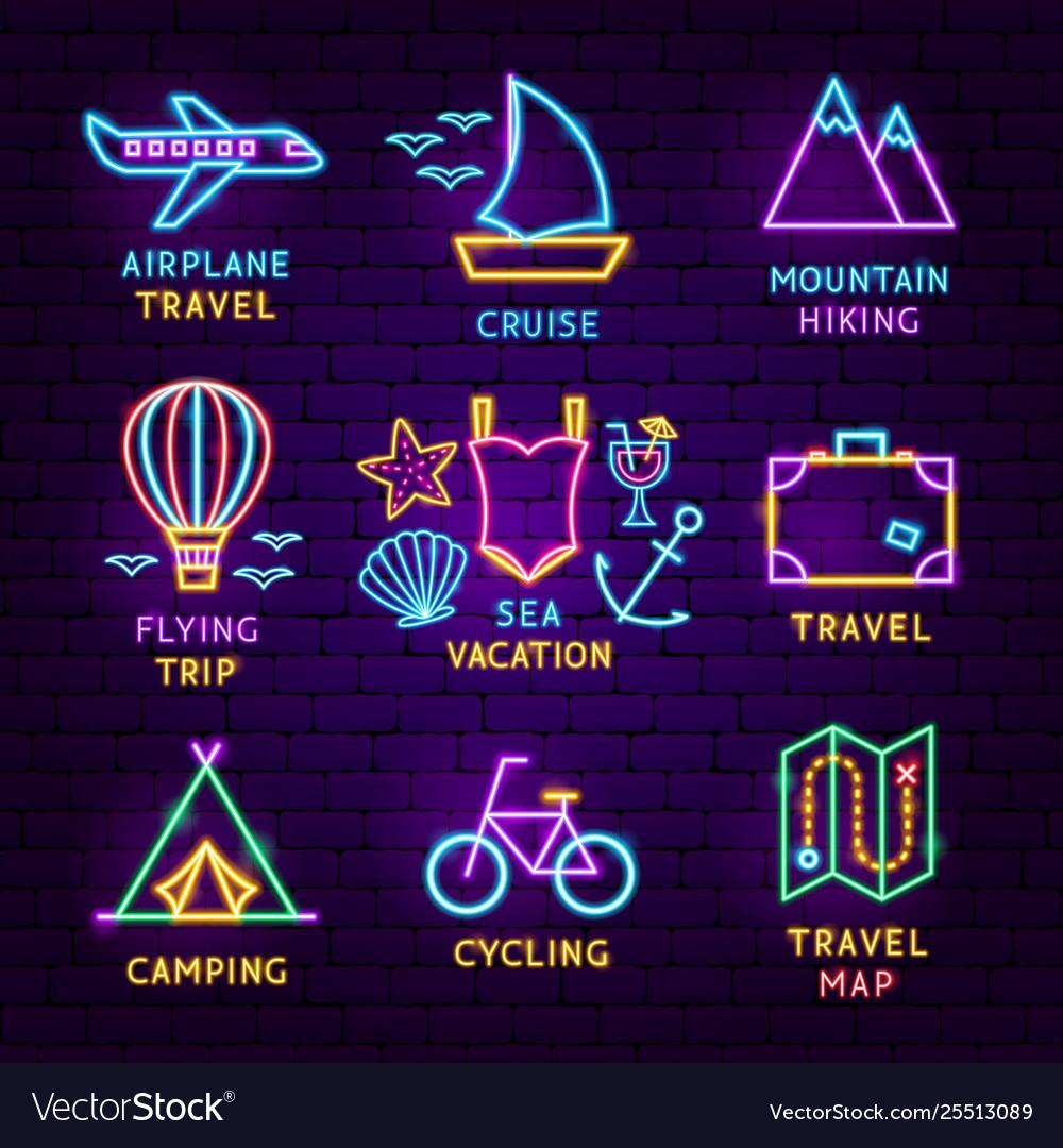 Summer travel neon label set