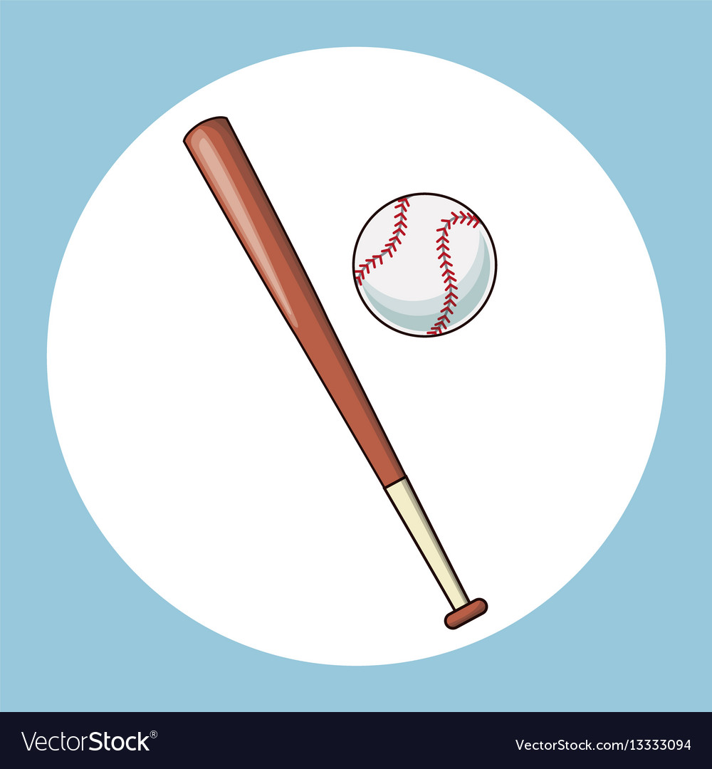 Baseball bat and ball equipment icon