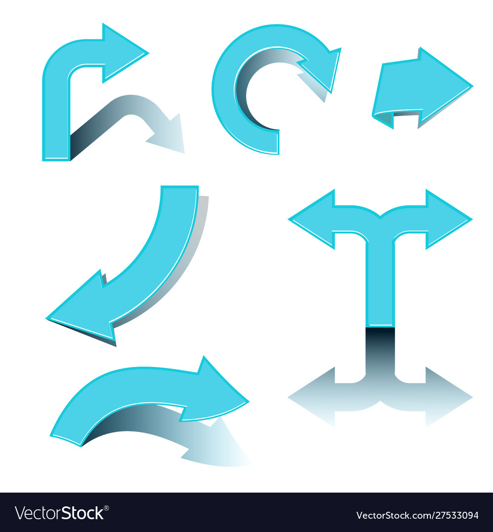 Blue arrows with shadow on white background