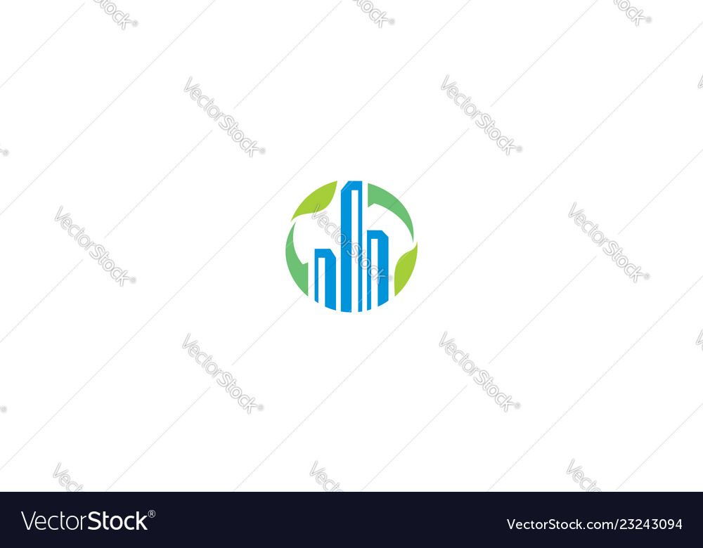 Building greening icon logo