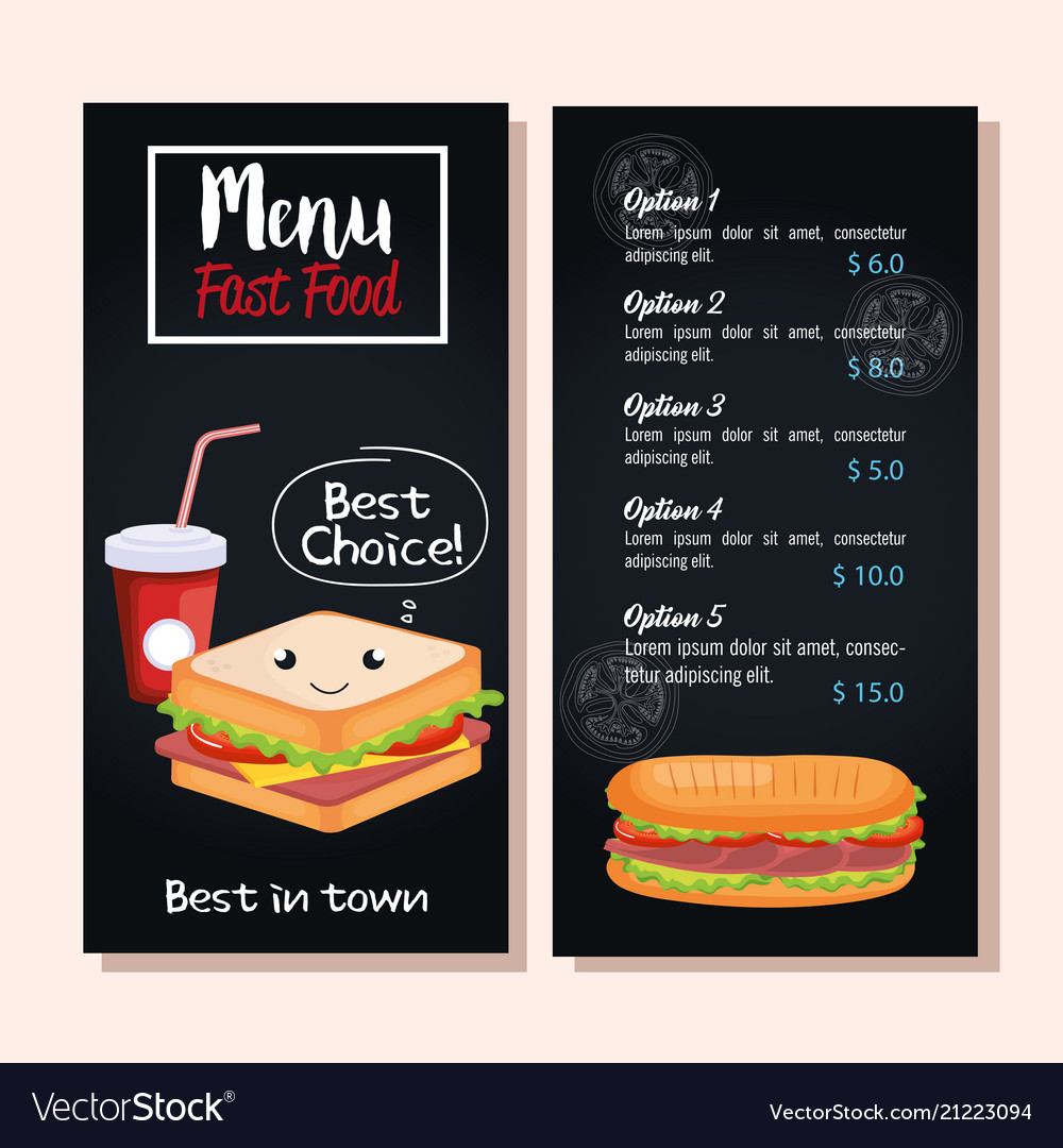 delicious sandwich fast food restaurant menu card vector image