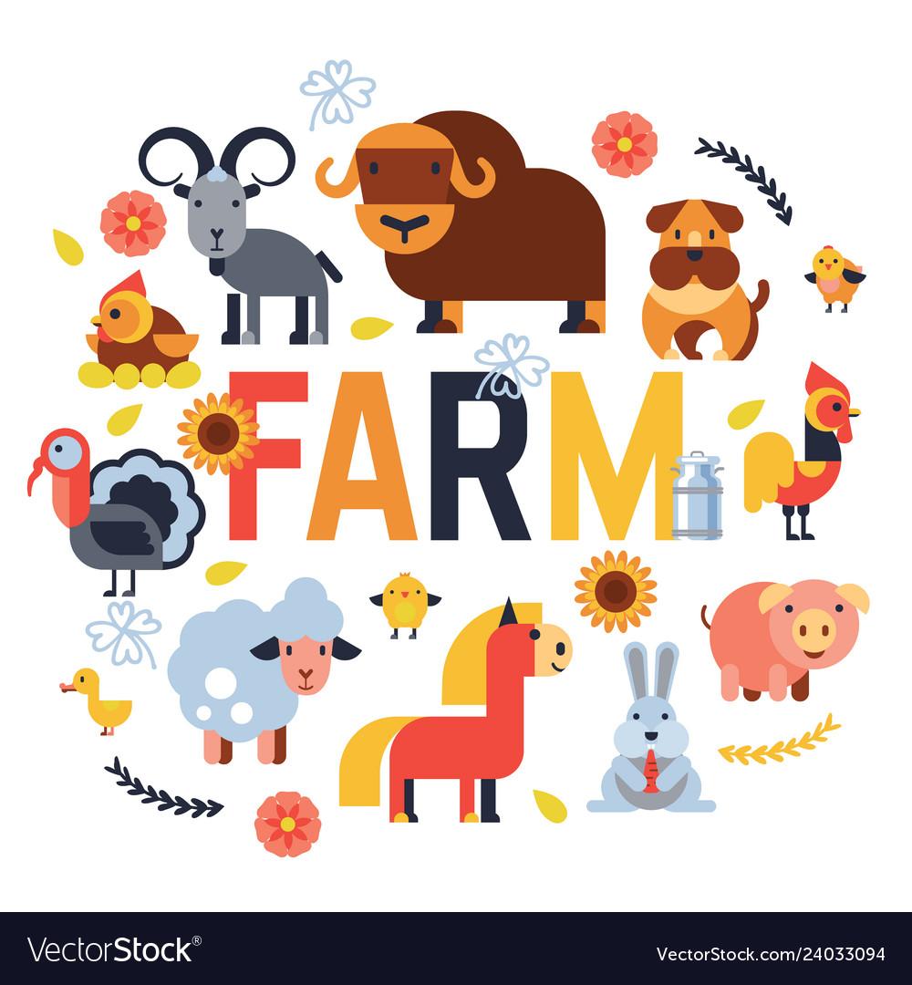 Farm animals set domestic farming