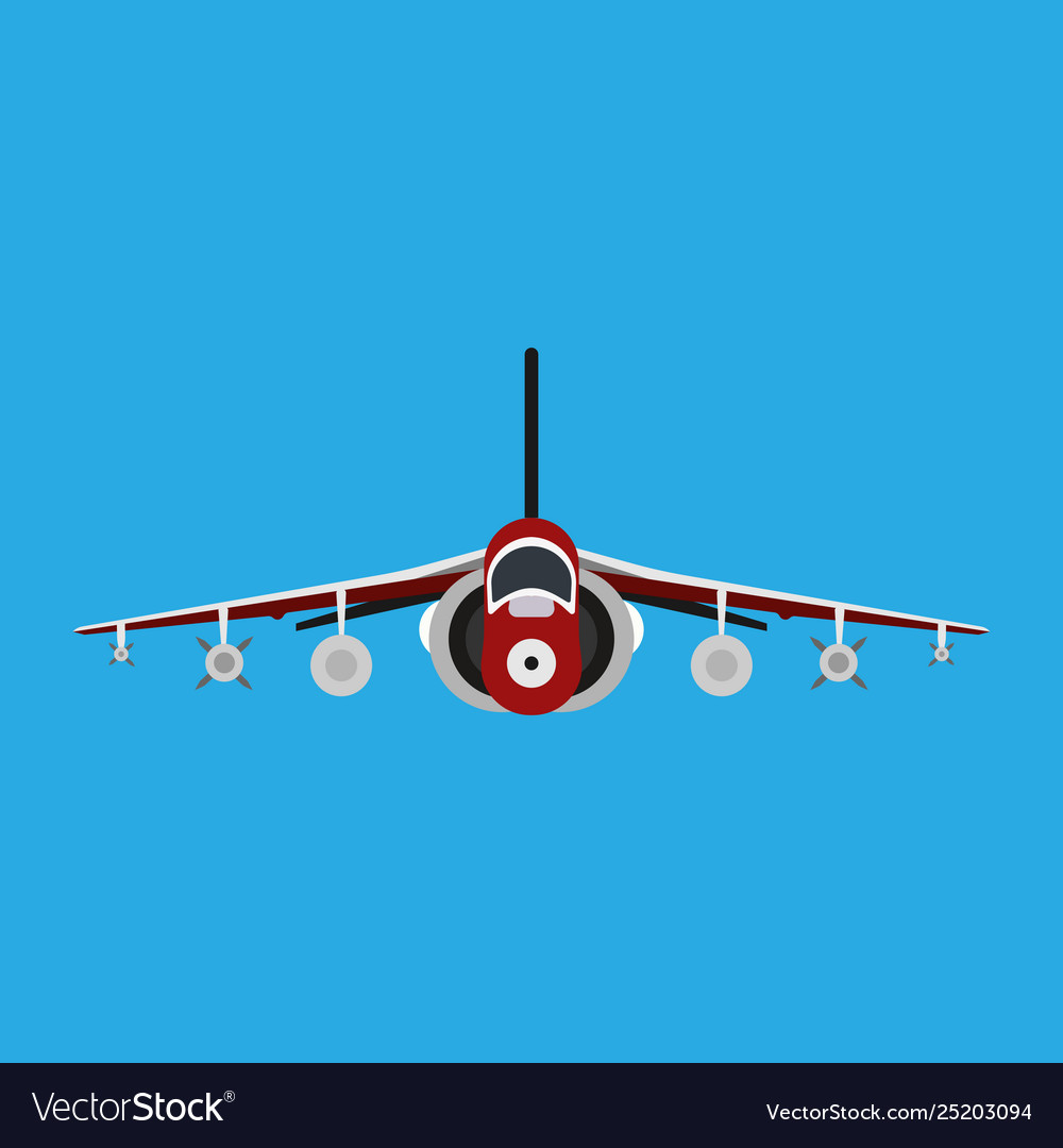 Military aircraft icon front view aviation air