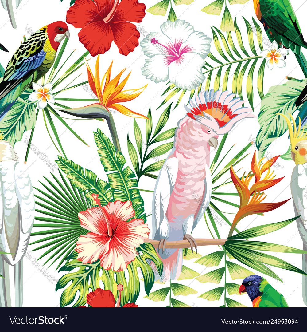 Parrot tropical flowers and leaves seamless