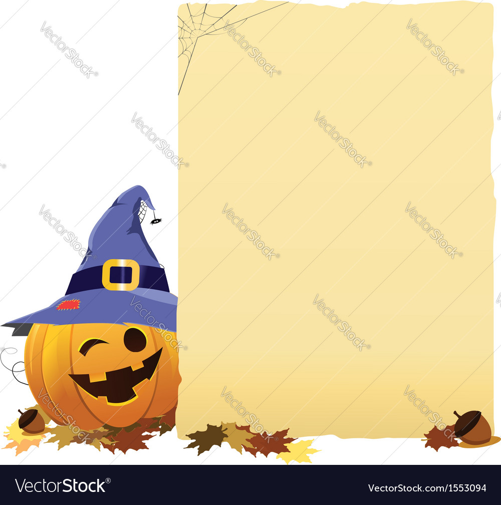 Pumpkin With Blank Paper