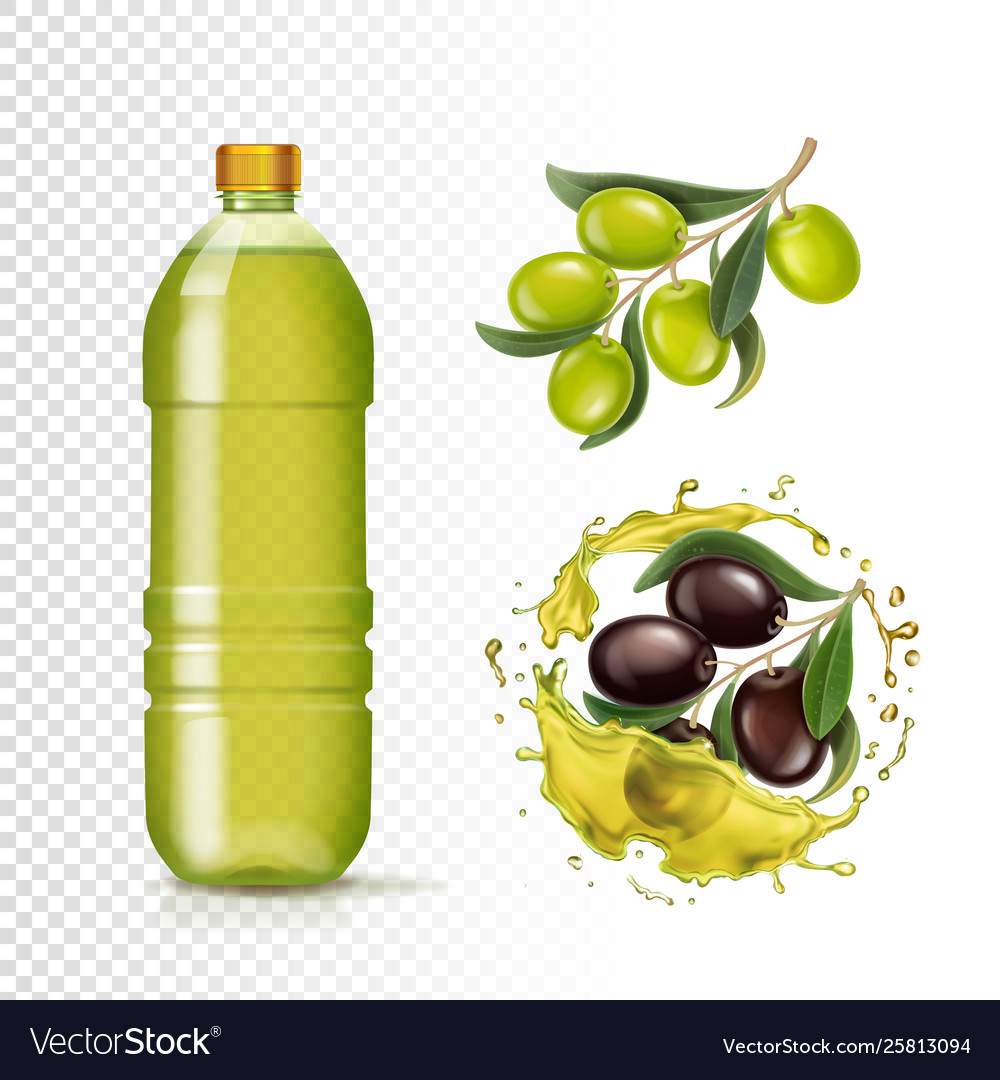 Realistic green and black olives and oil in bottle
