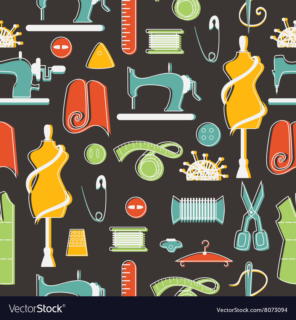 Sewing and tailor elements in seamless pattern