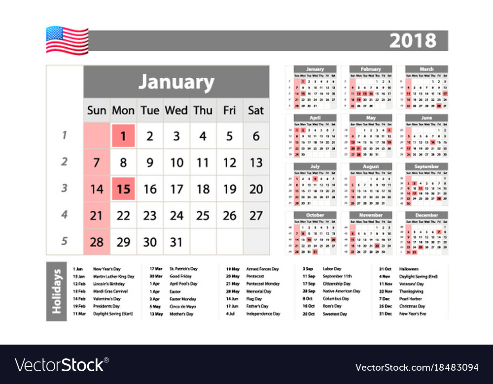 2018 calendar year at a glance