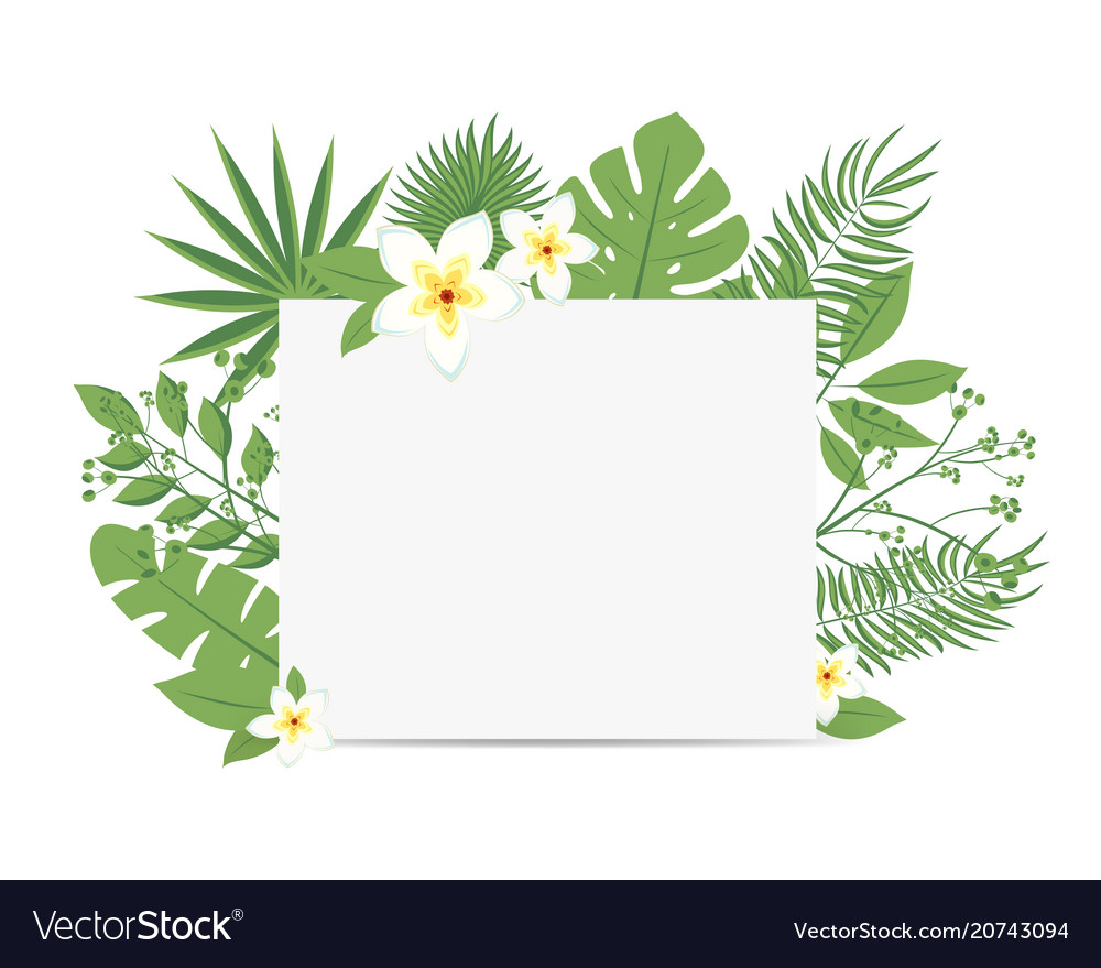 Tropical flyer with palm leaves and exotic flowers