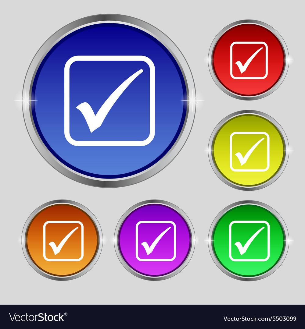 A check mark icon sign Round symbol on bright