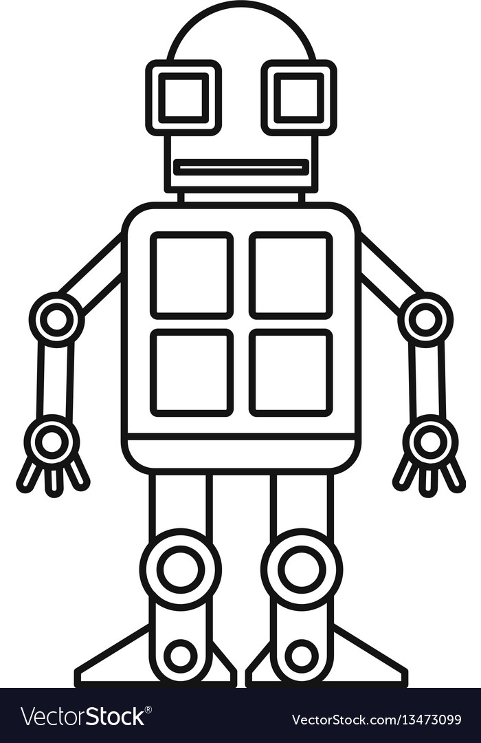 Android robot icon outline style