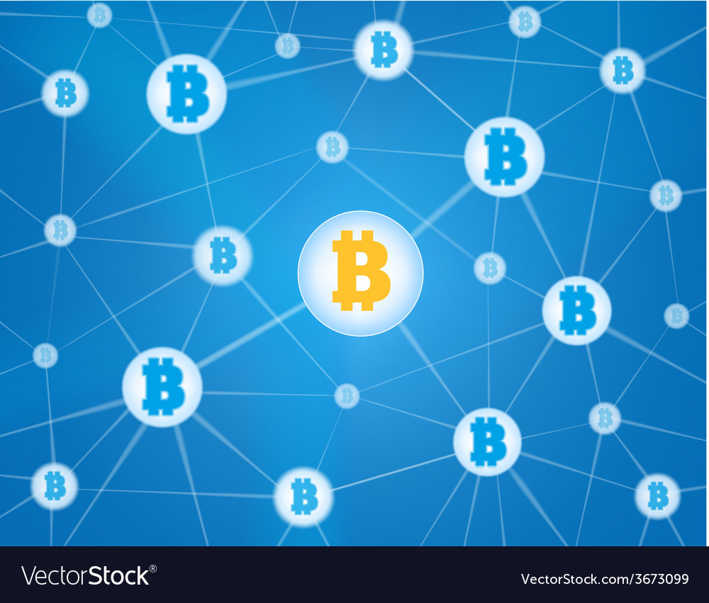 Bitcoin network blue background