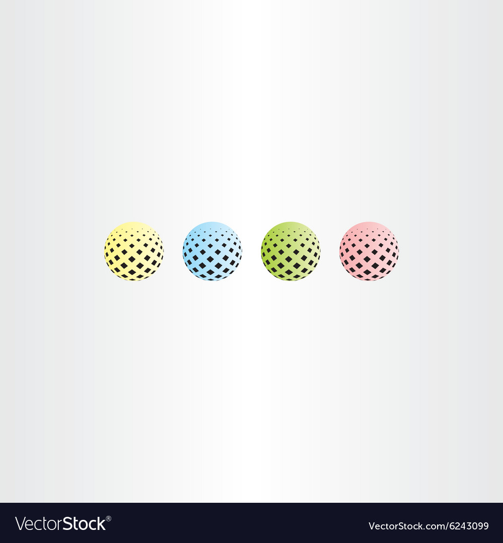 Colorful ball circle with square halftone
