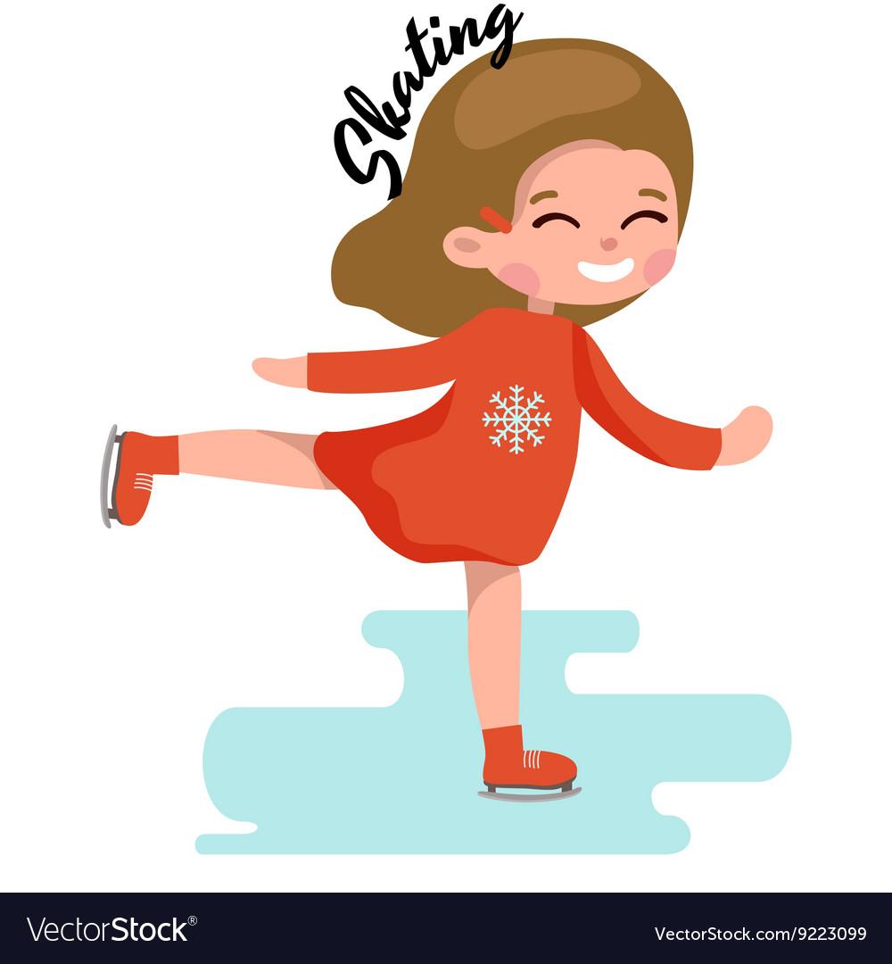 Cute little girl ice skating kids sport on frozen