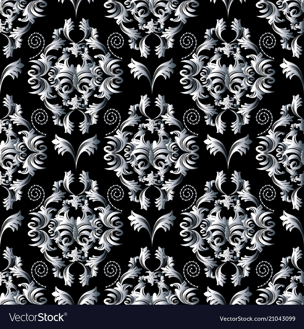 Floral Pattern Wallpaper Baroque Damask Royalty Free Vector