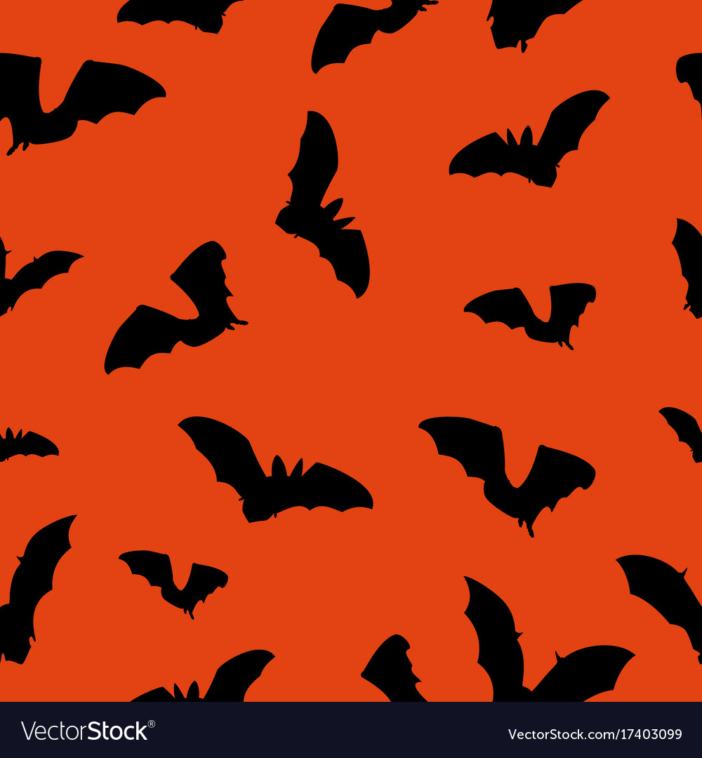 Halloween orange background with bats silhouettes