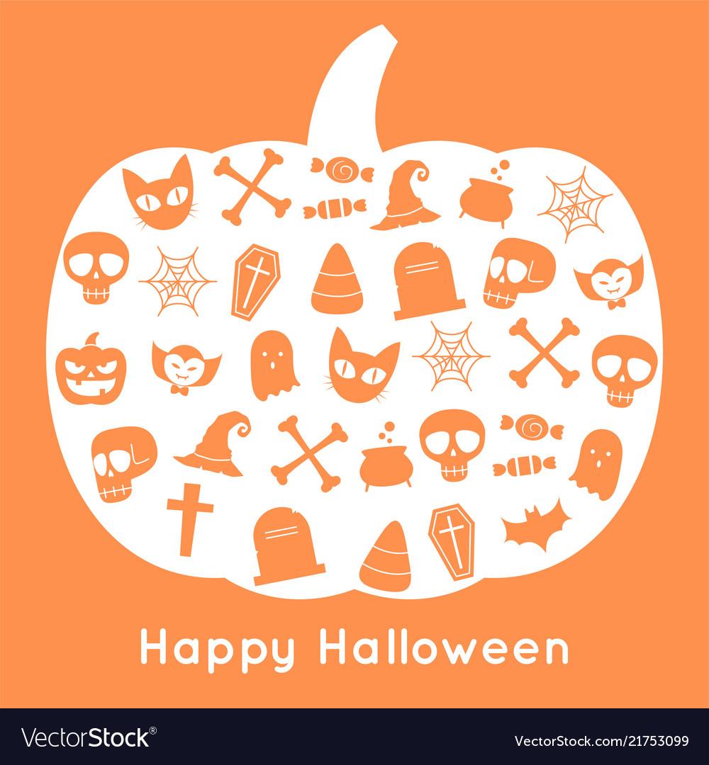 Happy halloween pumpkin card and icon