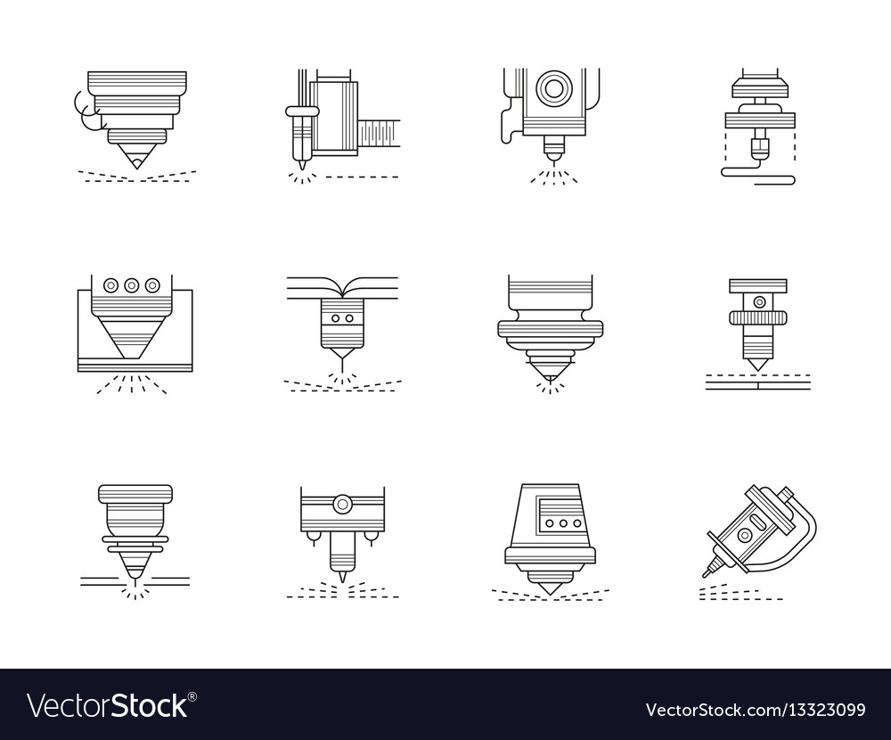 Industrial lasers flat line icons set