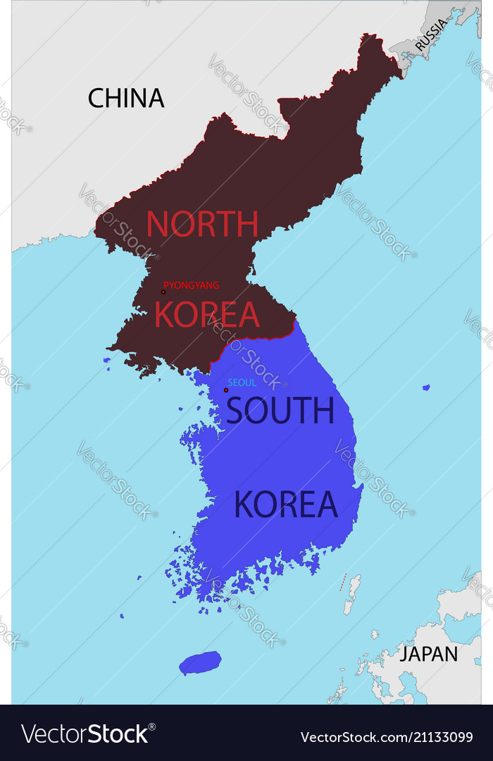 Map of south and north korea