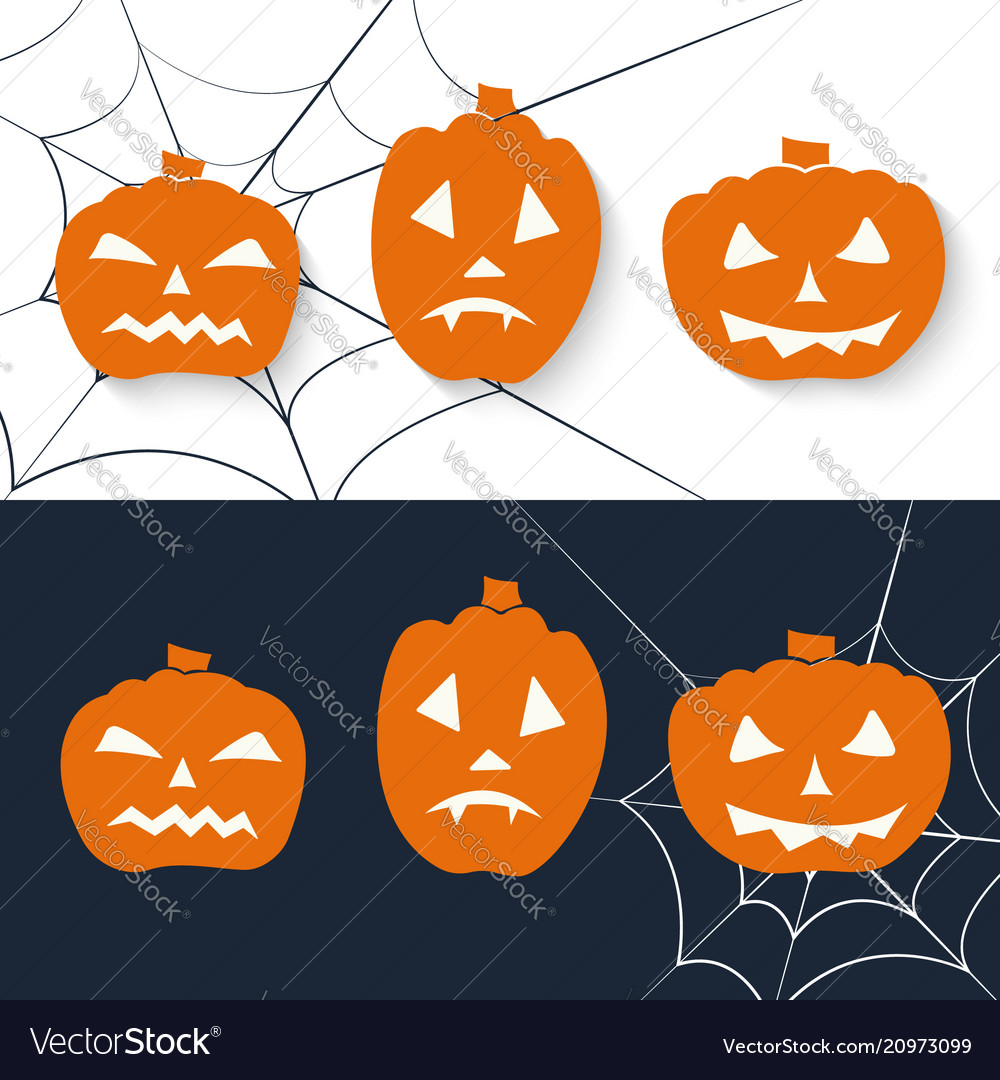 Scary pumpkin icon set halloween greeting