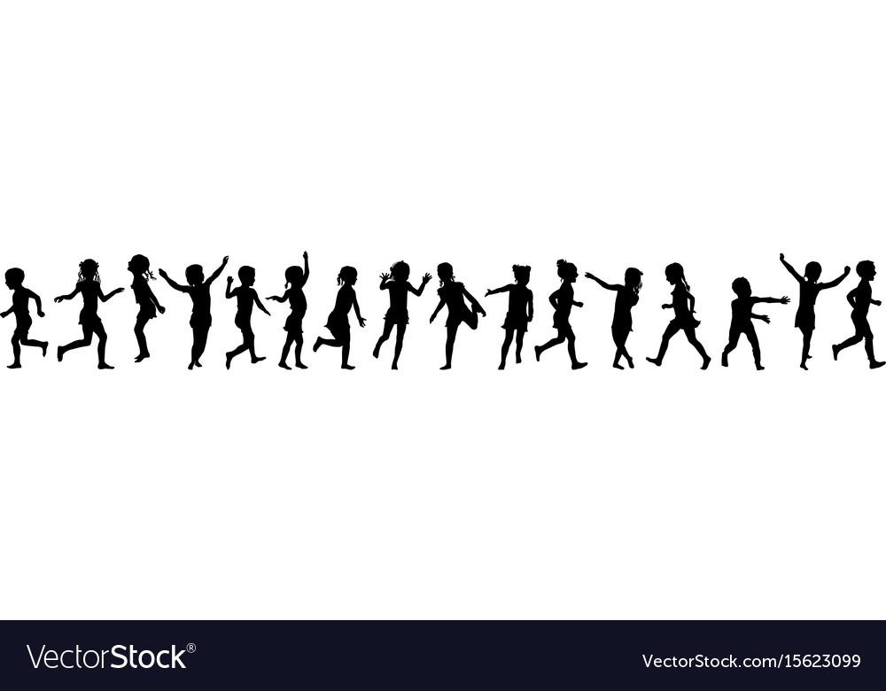 Seamless pattern silhouettes children jumping