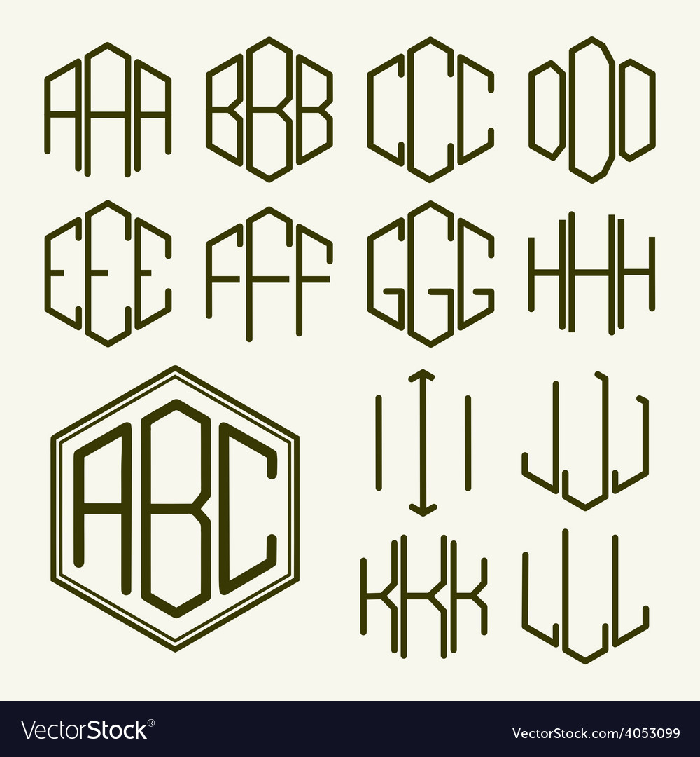 Set 1 template letters to create a monogram