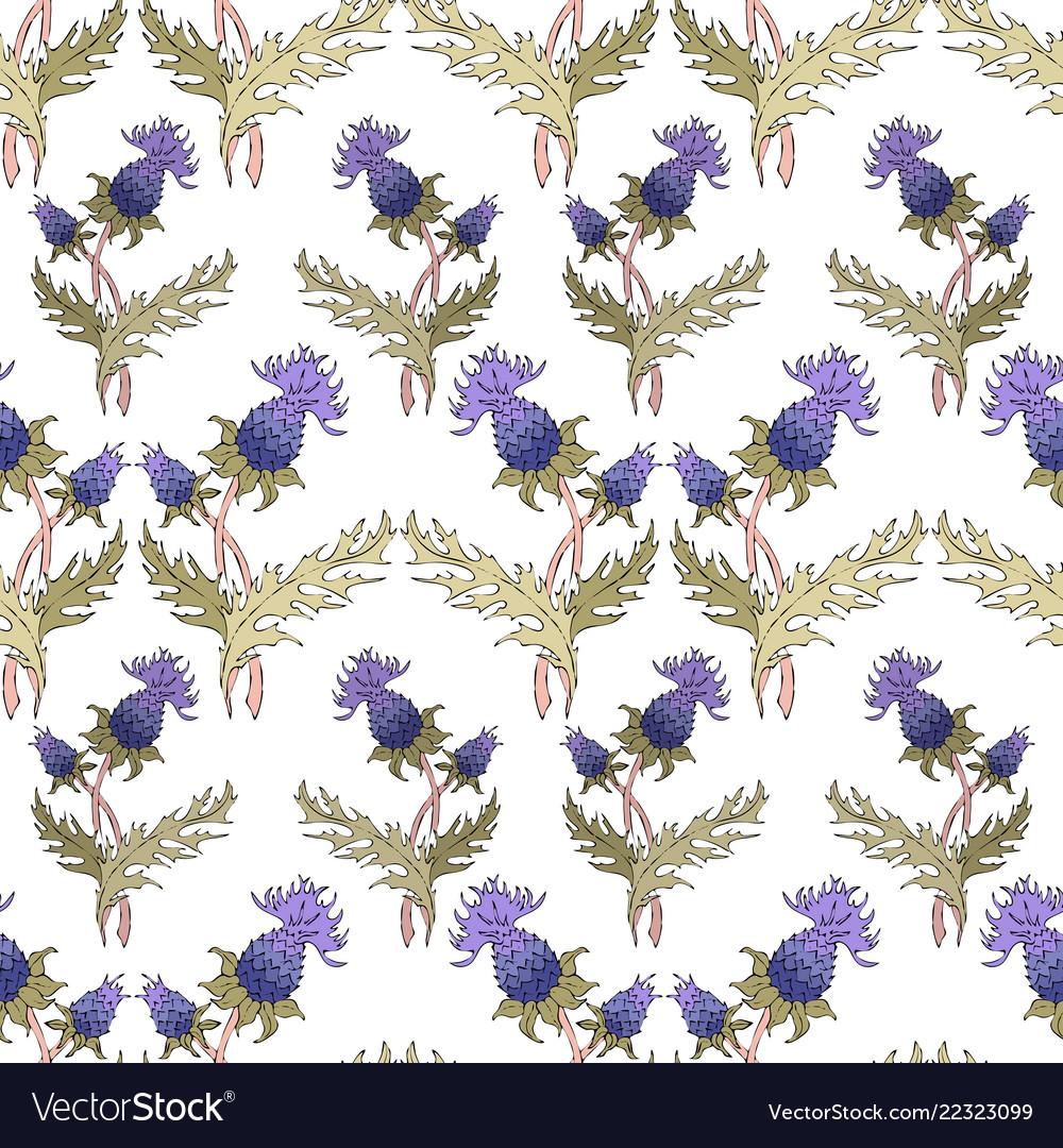 Thistle spike flower hand drawn seamless pattern
