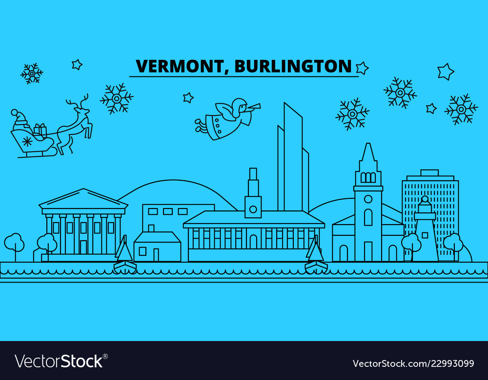 United states burlington winter holidays skyline vector image