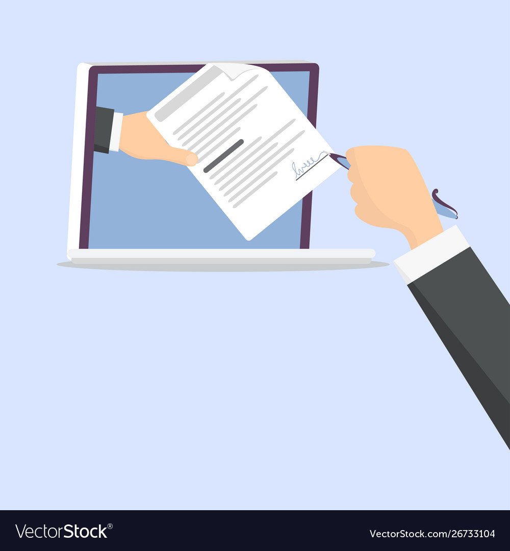 Businessmen s hands use electronic signature on