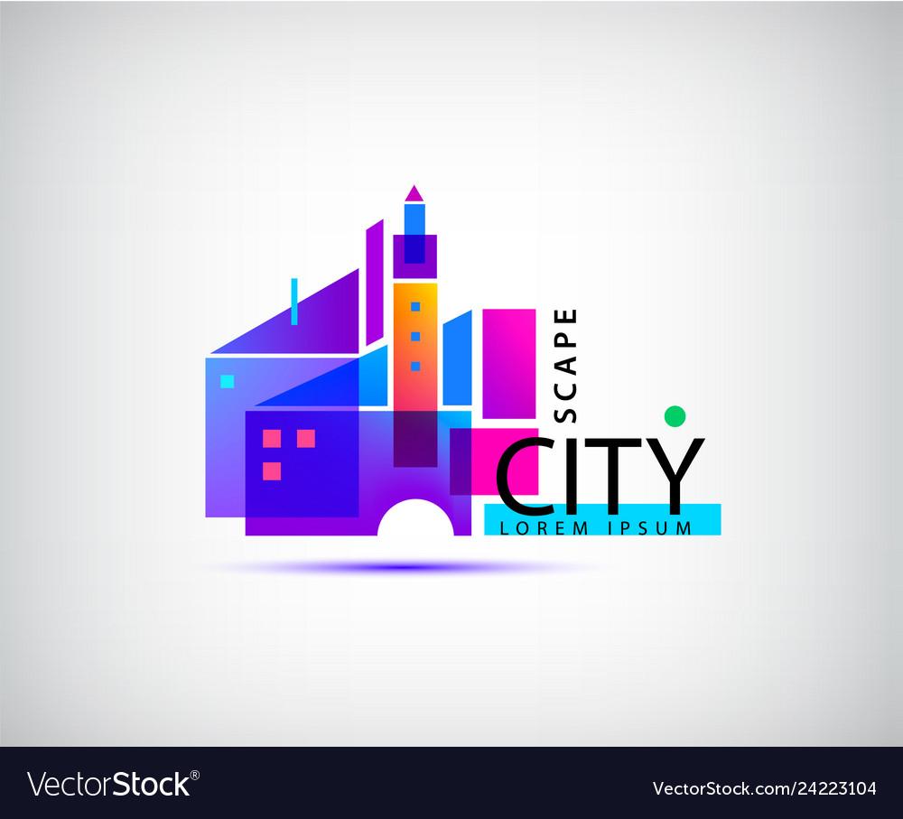 City scape real estate logo geometric