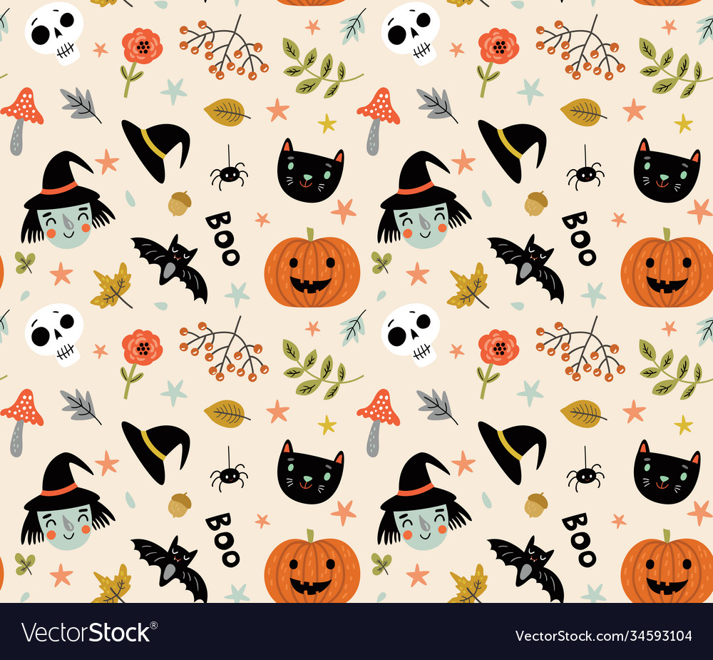 Funny pattern for halloween with a witch and a cat