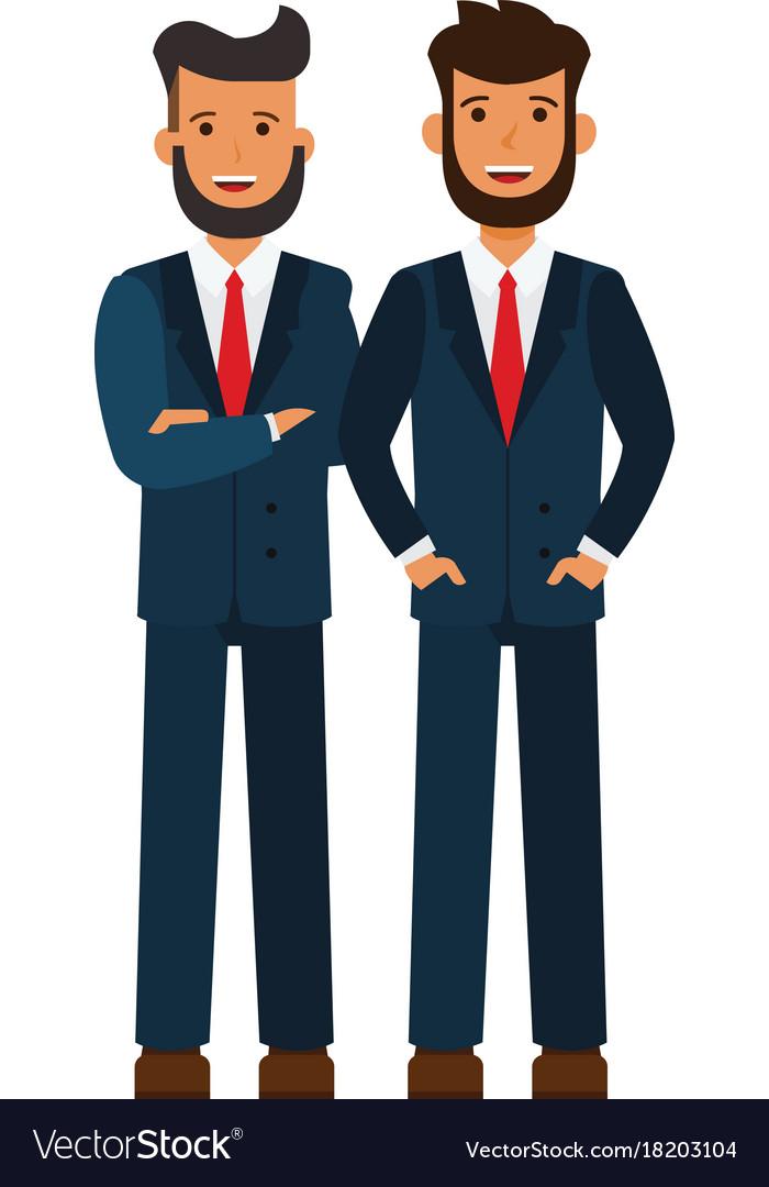 Male business team bearded businessmen cartoon vector image