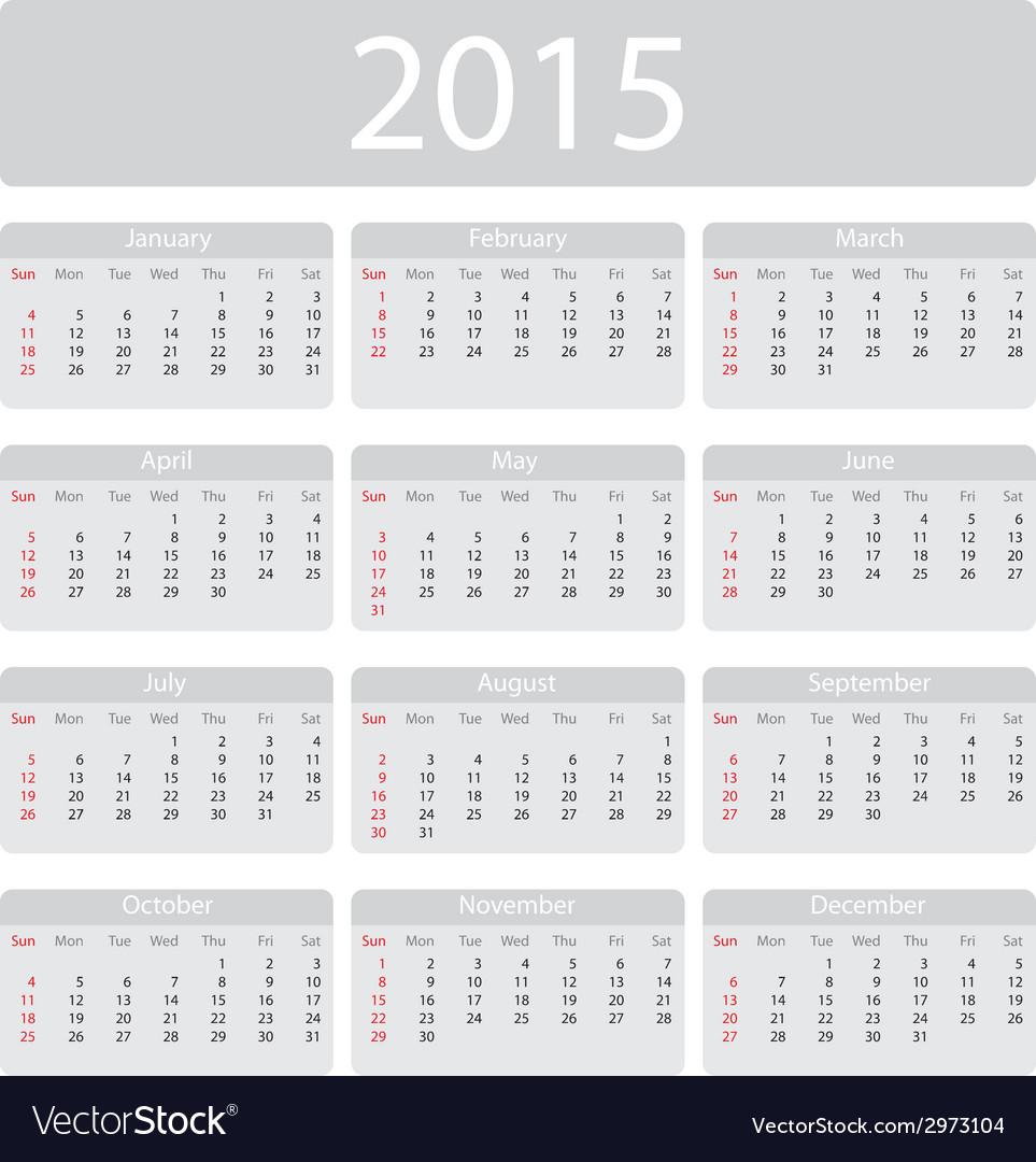 Minimalistic 2015 calendar vector image
