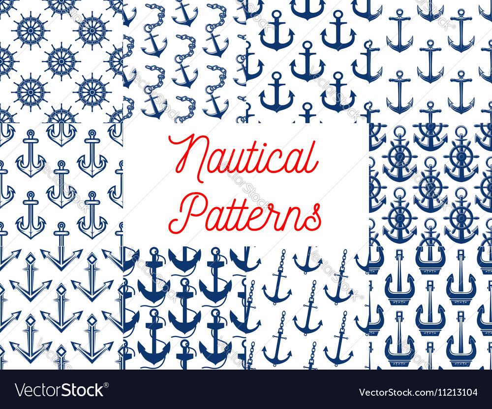 Nautical patterns set with anchor icons